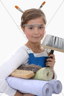 Little Girl Pretending To Be Decorator Stock Photo
