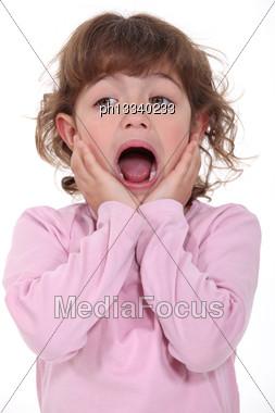 Little Girl Screaming Stock Photo