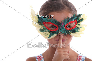 Little Girl With A Mask Stock Photo