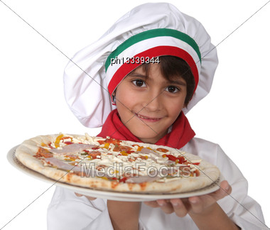 Little Italian Girl Presenting A Pizza Stock Photo