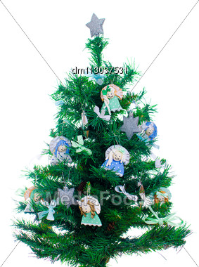 Little Xmas Tree With Handmade Decorations Isolated On White Stock Photo