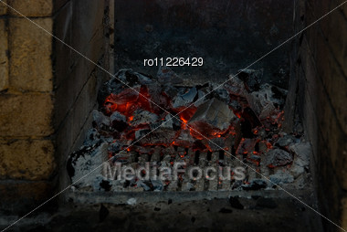Live Coals At Stove Stock Photo
