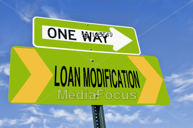 Loan Modification One Way Road Sign Over Blue Sky, Housing Market Concept Stock Photo