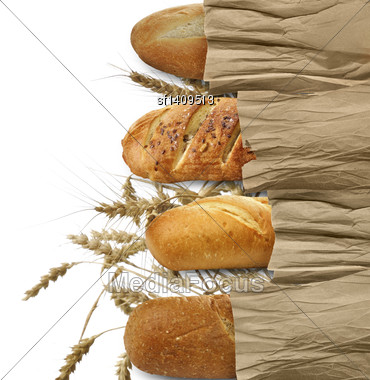 Loaves Of Bread On White Background Stock Photo