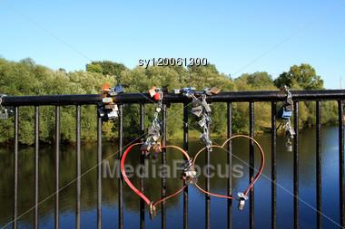 Lock On Banisters Of The Bridge Stock Photo
