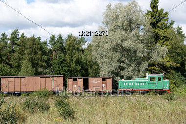 Locomotive And Freight Cars On A Background Of Green Trees Stock Photo