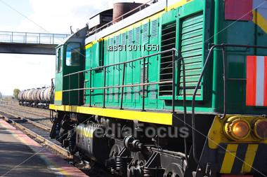 Locomotive Green With Yellow Stripe Stock Photo