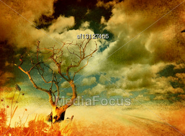 Lonely Dry Tree And Dramatic Sky On Grungy Background Stock Photo