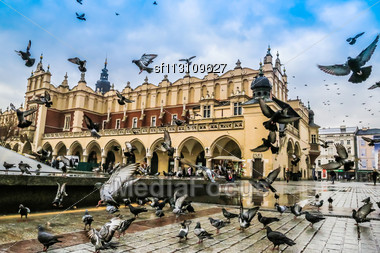 Lot Of Doves In Krakow Old City. Market Square. Poland Stock Photo