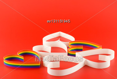 Lot Of Hearts Gay And Straight On Red Background Stock Photo