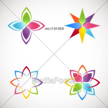 Lotus Logotype Icons Set. Bright Colors Flower Logos.Lotus Flower Logo For Beauty Salon, Health Clinic, Yoga Studio, Massage Studio Stock Photo