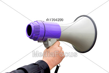 Loudspeaker And Gray And Lavender Colors In A Hand Of Man Stock Photo