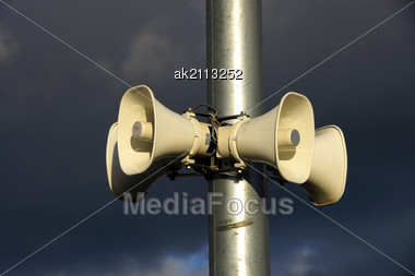 Loudspeakers On A Background Of The Blue Sky Stock Photo