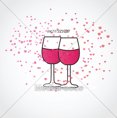 Love Drink. Vector Illustration With Two Wine Glasses And Hearts Stock Photo