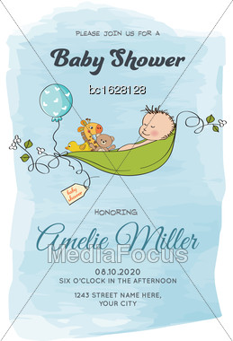 Lovely Baby Boy Shower Card, Vector Format Stock Photo