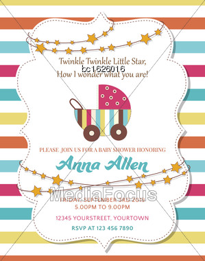 Lovely Baby Shower Card With Stroller, Vector Format Stock Photo