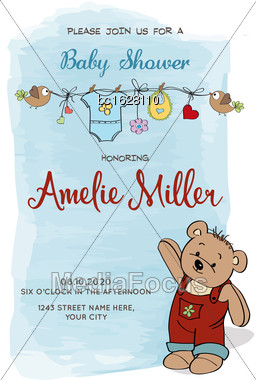 Lovely Baby Shower Card With Teddy Bear, Vector Format Stock Photo