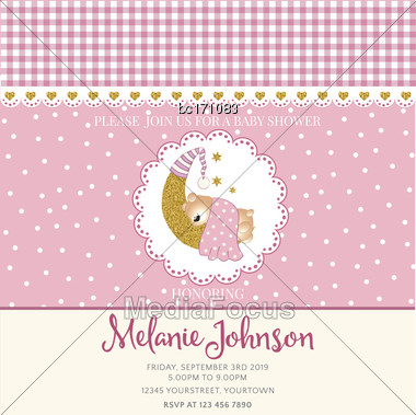 Lovely Baby Shower Card Template With Golden Glittering Details, Vector Format Stock Photo
