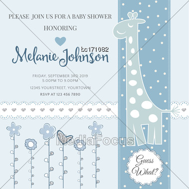 Lovely Baby Shower Card Template With Silver Glittering Details, Vector Format Stock Photo