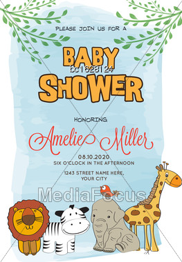 Lovely Baby Shower Card, Vector Format Stock Photo