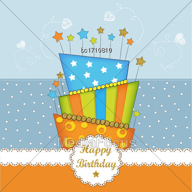 Lovely Birthday Card With Golden Glittering Details, Vector Format Stock Photo