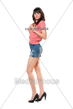 Lovely Girl In Jeans Mini Skirt. Stock Photo