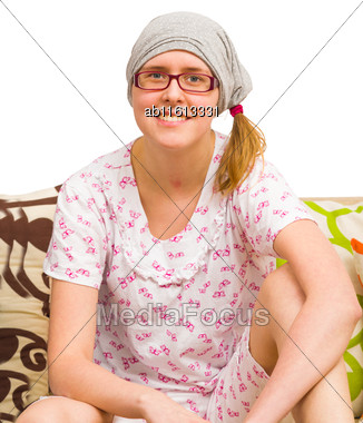 Lovely Woman Resting In Recovery After Head Operation Stock Photo