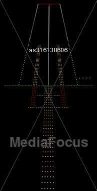 Luminous Night Landing Lights Airport. Vector Illustration Stock Photo
