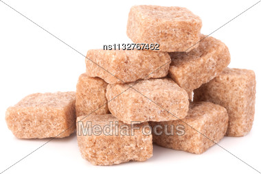 Lump Brown Cane Sugar Cubes Isolated On White Background Stock Photo