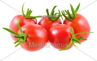 Lush Tomatoes . Isolated Over White Stock Photo