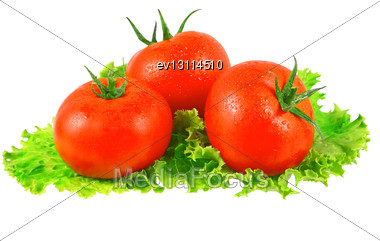 Lush Tomatos With Green Leafs. Isolated Over White Stock Photo
