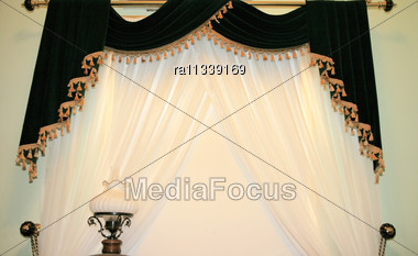 Luxurious Curtains And Lamp Stock Photo