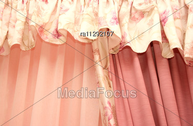 Luxurious Curtains At Home Stock Photo