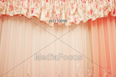 Luxurious Curtains At Home. Stock Photo