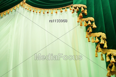 Luxurious Curtains. Stock Photo