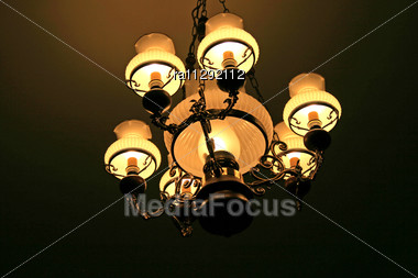 Luxurious Elegant Chandelier In The Cabinet And Library Stock Photo