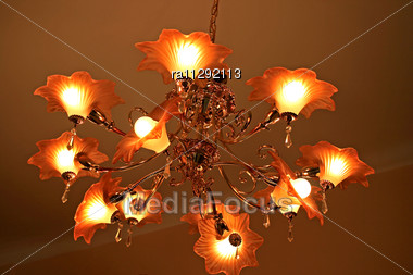 Luxurious Elegant Chandelier In The Living Room Stock Photo