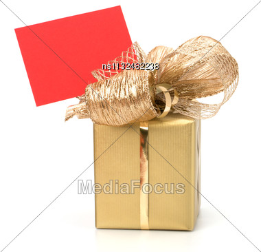 Luxurious Gift With Note Isolated On White Background Stock Photo