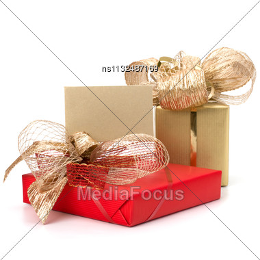 Luxurious Gifts With Note Isolated On White Background Stock Photo
