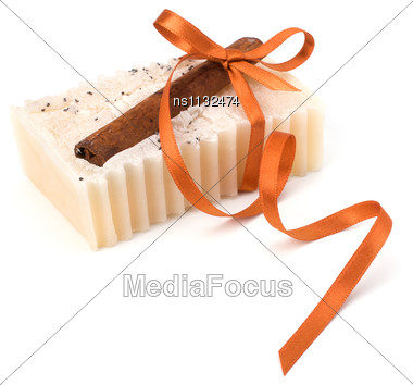 Luxurious Handmade Cinnamon Soap Isolated On White Background Stock Photo