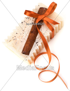 Luxurious Handmade Cinnamon Soap Isolated On White Background Stock Photo