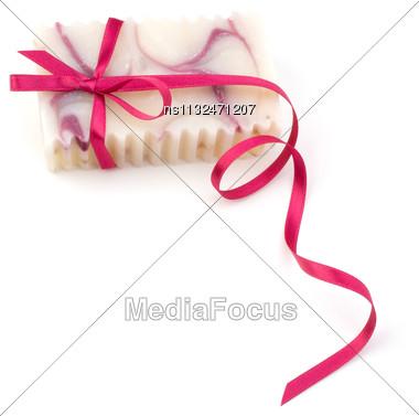 Luxurious Handmade Lavender Soap Isolated On White Background Stock Photo