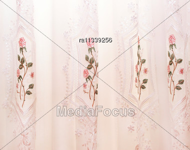 Luxurious Pink Curtains As A Background Stock Photo