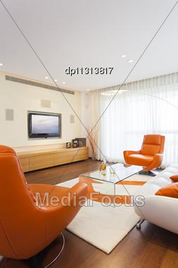 Luxury Modern Living Room Stock Photo