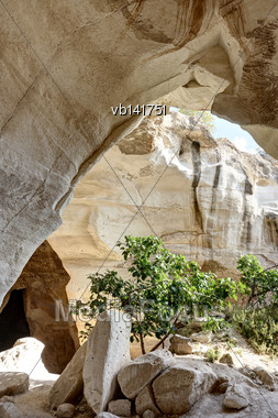 Luzit Caves Of Bell Type In Israel, Dwelling Of The Ancient People Stock Photo