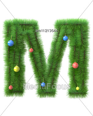 M Letter Made Of Christmas Tree Branches Stock Photo