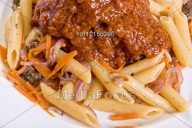 Macaroni With Lamb Meat And Mushrooms Stock Photo