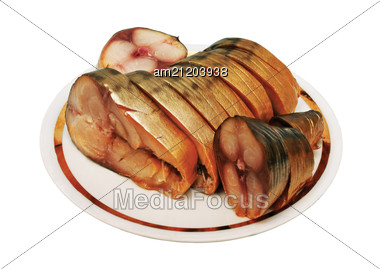Mackerel Cut Into Slices On A Small Plate Stock Photo
