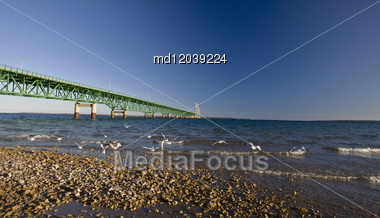 Mackinaw City Bridge Michigan Autumn Fall St Ignace Stock Photo