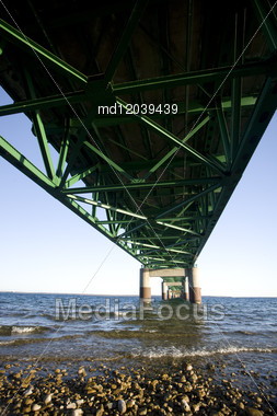 Mackinaw City Bridge Michigan Autumn Fall St Ignace Stock Photo